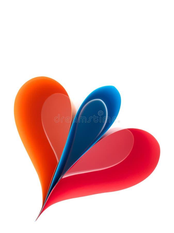 Flor de papel - extracto brillante del rojo, azul y anaranjado aislado en blanco fotografía de archivo libre de regalías
