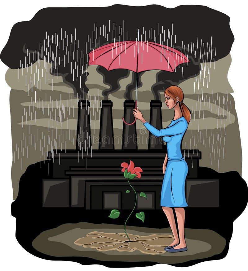 Flor de protección de la muchacha stock de ilustración