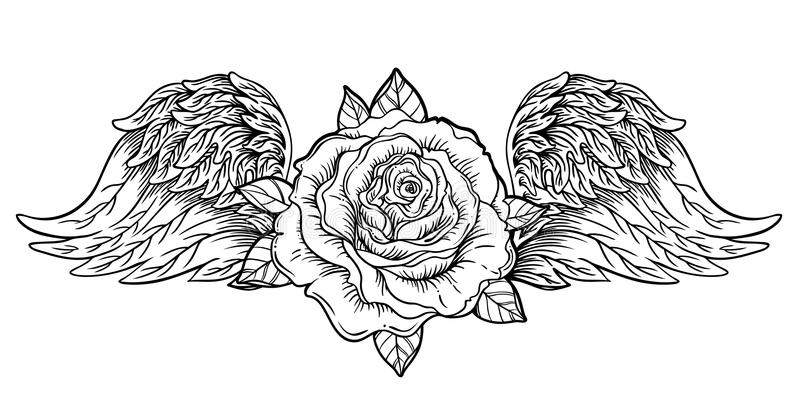 Flor de Rosa com anjo ou asas do pássaro Flash da tatuagem de Blackwork vi ilustração stock