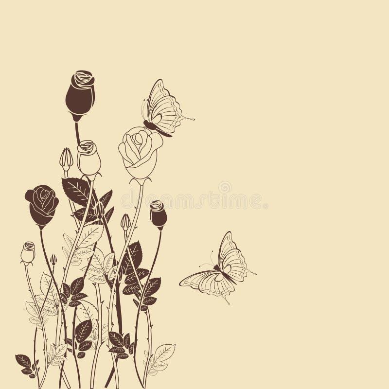 Flor de Rosa com fundo da borboleta ilustração stock