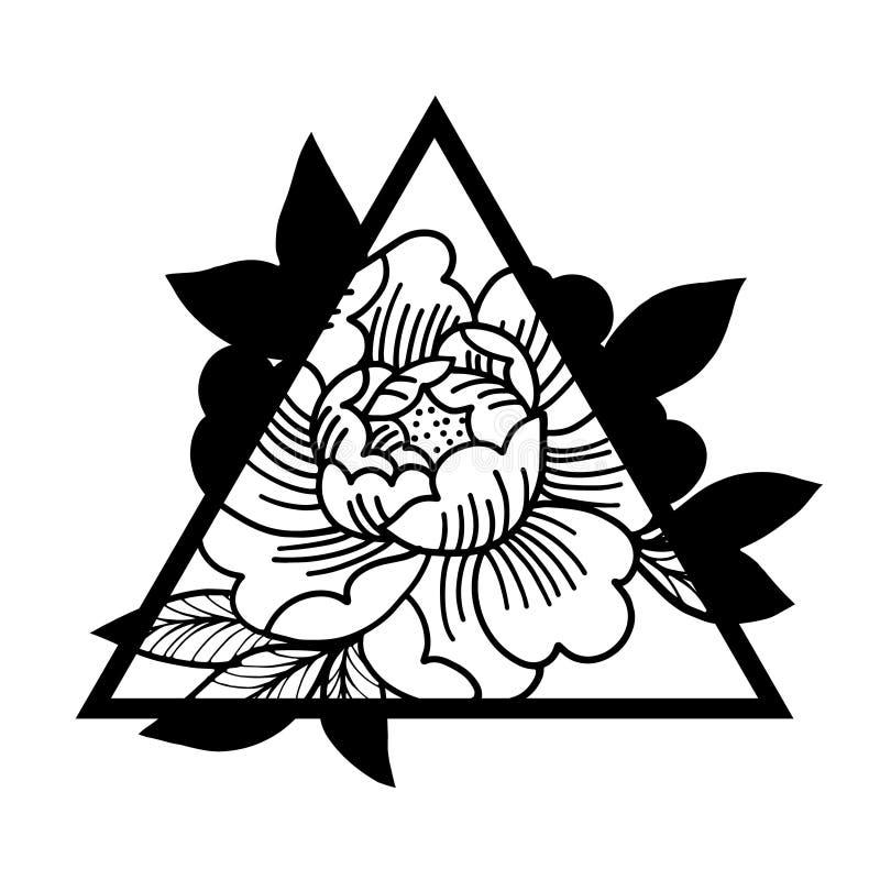 Flor de Rosa com quadro sagrado da geometria Tatuagem, símbolo místico ilustração do vetor