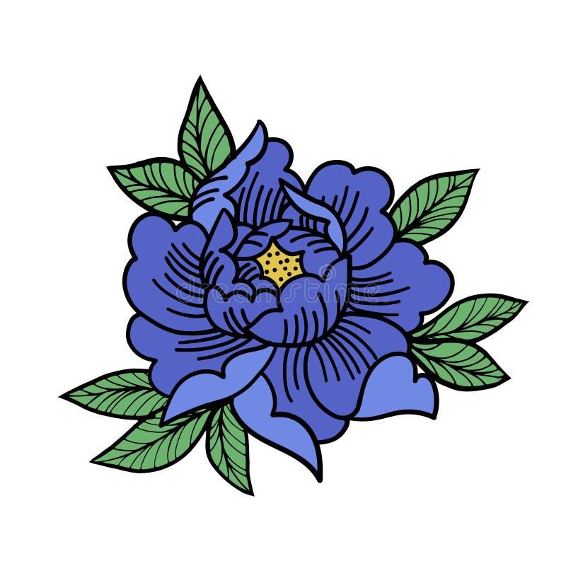 Flor de Rosa da tatuagem A tatuagem, símbolo místico isolou o vetor ilustração do vetor