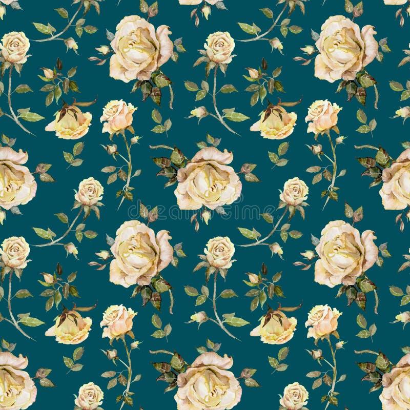 Flor de Rosa em um galho Teste padrão floral sem emenda Pintura da aguarela ilustração royalty free
