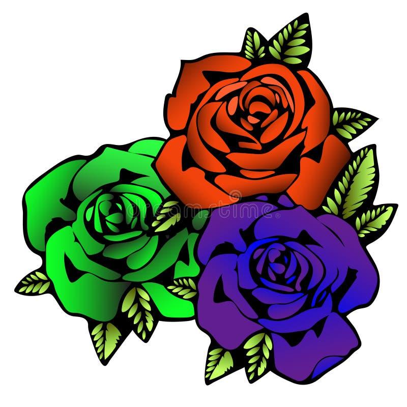 Flor de Rosa, esboço da tatuagem Três rosas das flores nas cores brilhantes incomuns criativas, rosebud roxo do botão, o alaranja ilustração stock