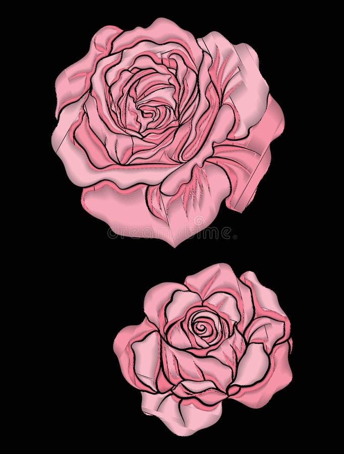 Flor de Rosa para o bordado no estilo botânico da ilustração na ilustração do vetor