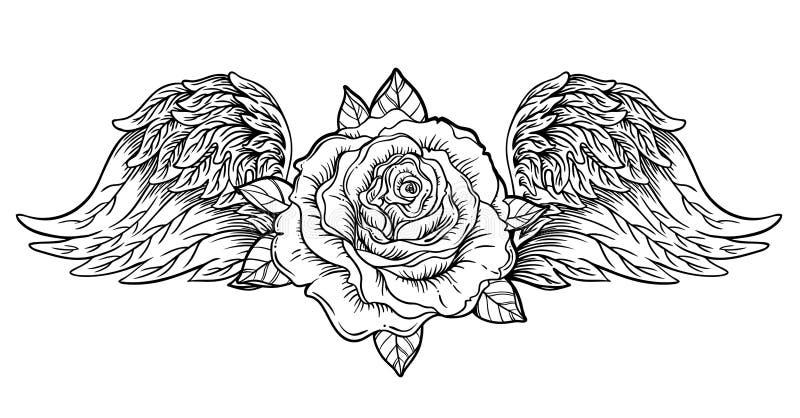 Flor de Rose con ángel o las alas del pájaro Flash del tatuaje de Blackwork VI stock de ilustración