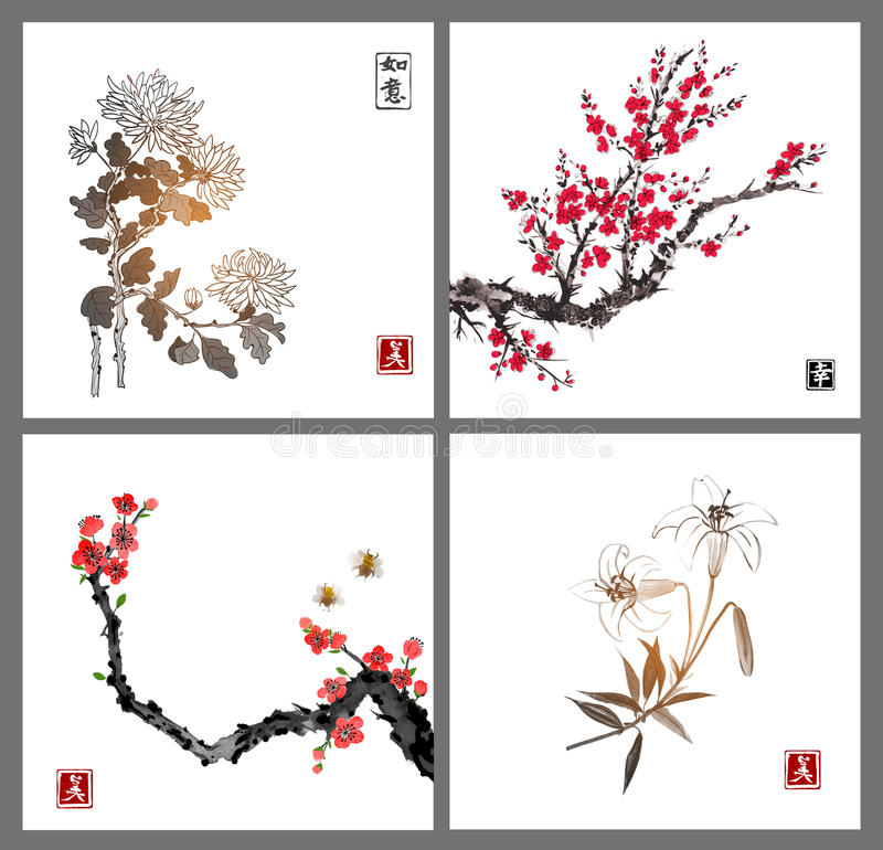 Flor de Sakura, crisantemo y flores del lirio en el fondo blanco El sumi-e oriental tradicional de la pintura de la tinta, u-peca libre illustration