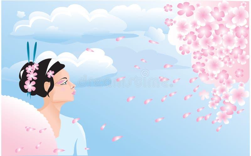 Flor de Sakura e menina japonesa ilustração do vetor
