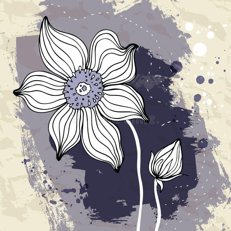 Flor de Snowdrop no fundo do papel Crumpled. ilustração royalty free