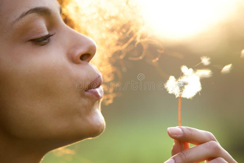 Flor de sopro do dente-de-leão da jovem mulher bonita fotografia de stock royalty free