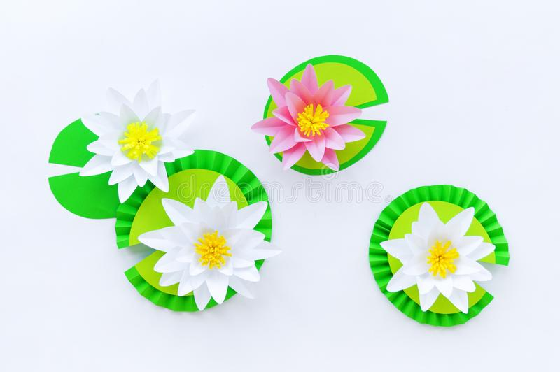 Flor de Waterlily feita do papel Fundo branco Passatempo do origâmi P?tala delicada imagens de stock