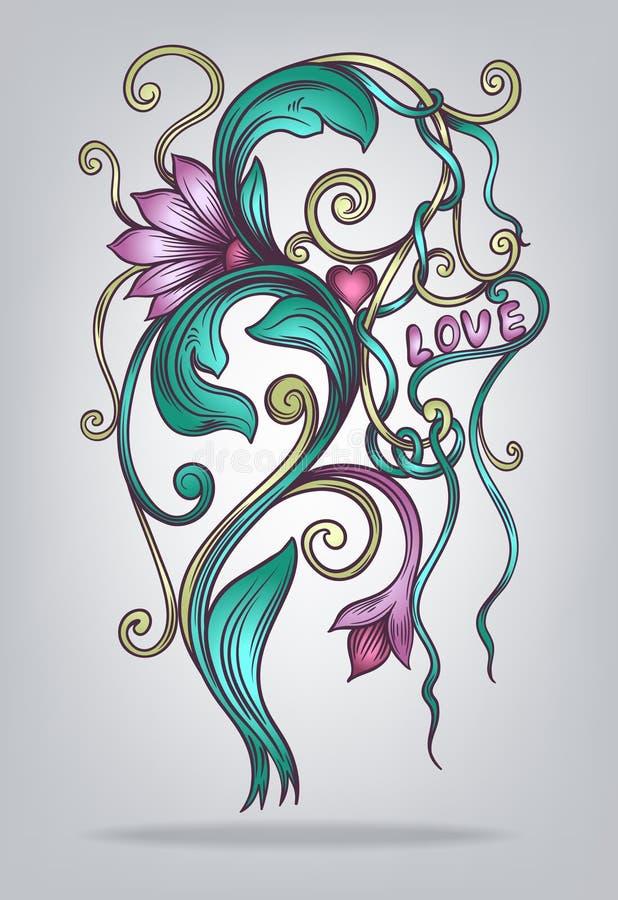 Flor decorativa abstracta ilustración del vector