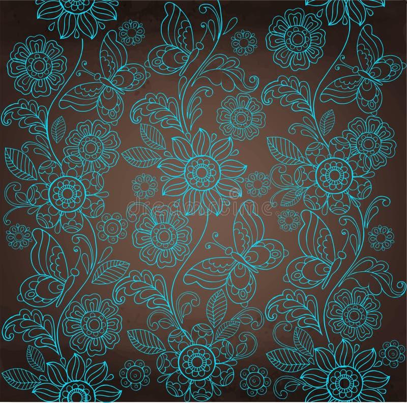 Flor decorativa de la turquesa, fondo marrón stock de ilustración