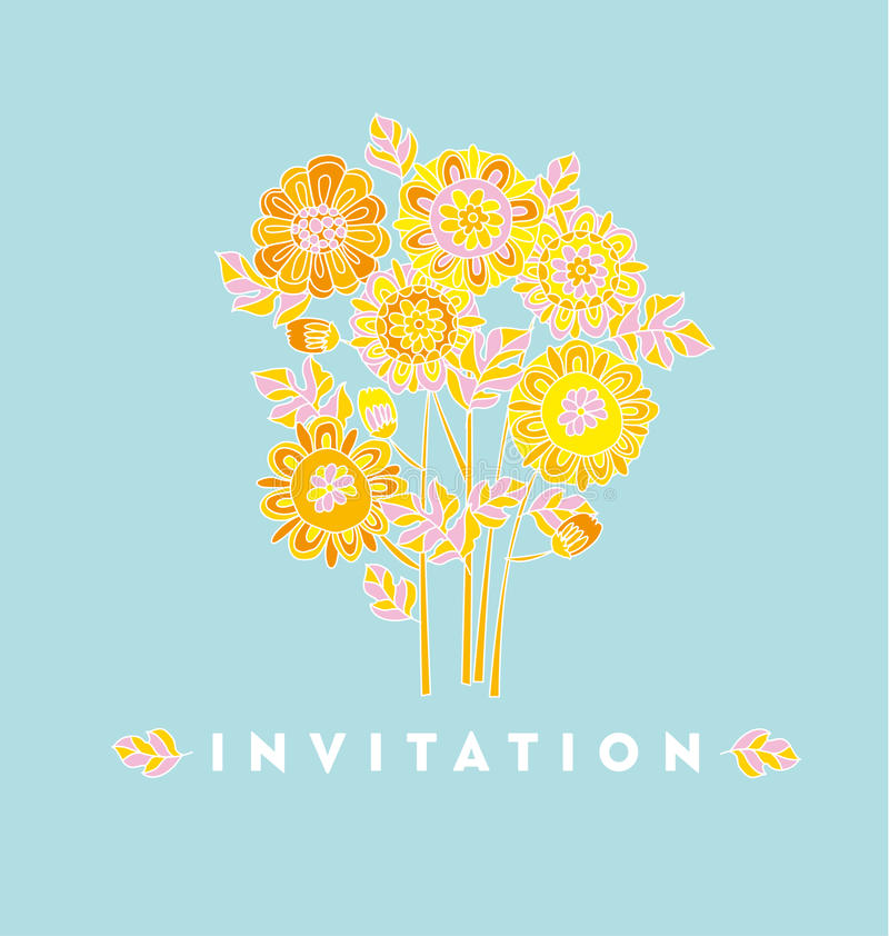 Flor decorativa dibujada mano ingenua de la maravilla del estilo stock de ilustración