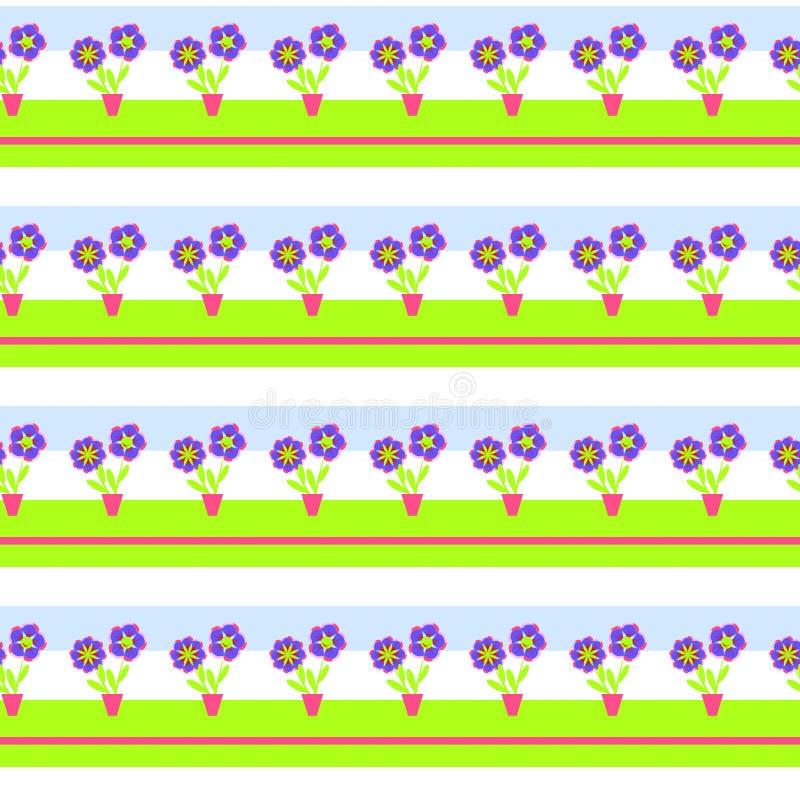 Flor decorativa simples em um potenciômetro para a aplicação das crianças Teste padrão sem emenda para os papéis de parede das cr ilustração do vetor