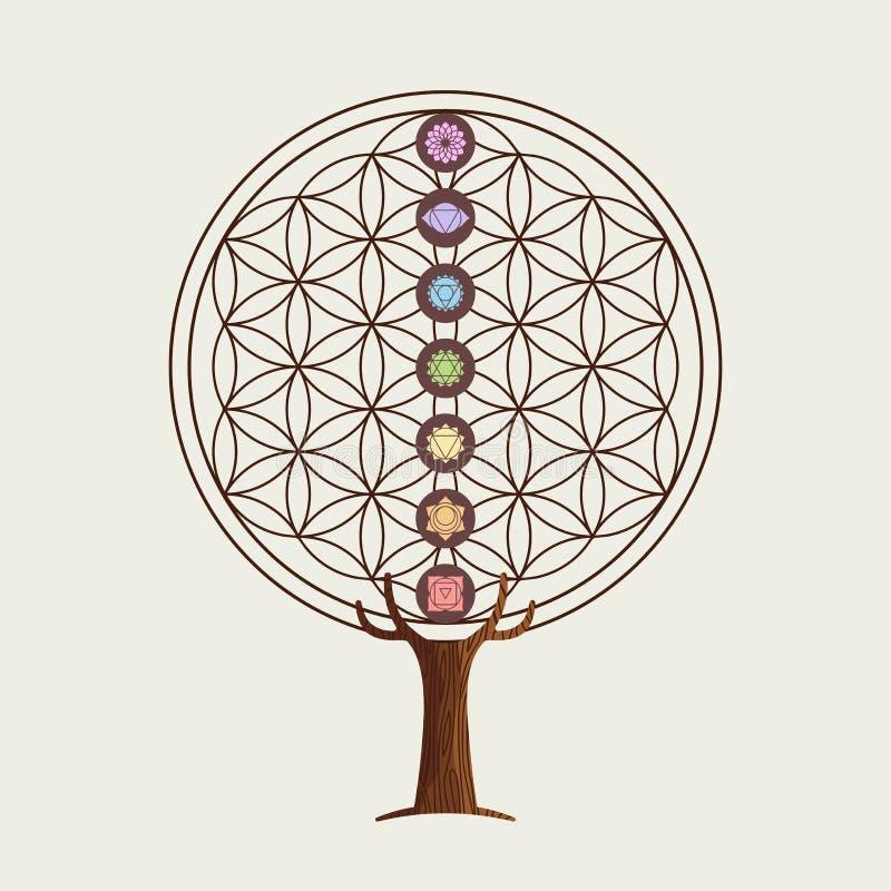 Flor del árbol del concepto de la vida con chakras de la yoga ilustración del vector