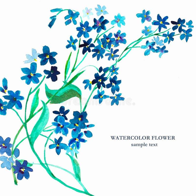 Flor del azul de la acuarela Modelo inconsútil stock de ilustración