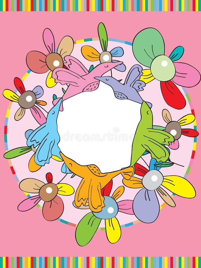Flor del círculo del pájaro ilustración del vector