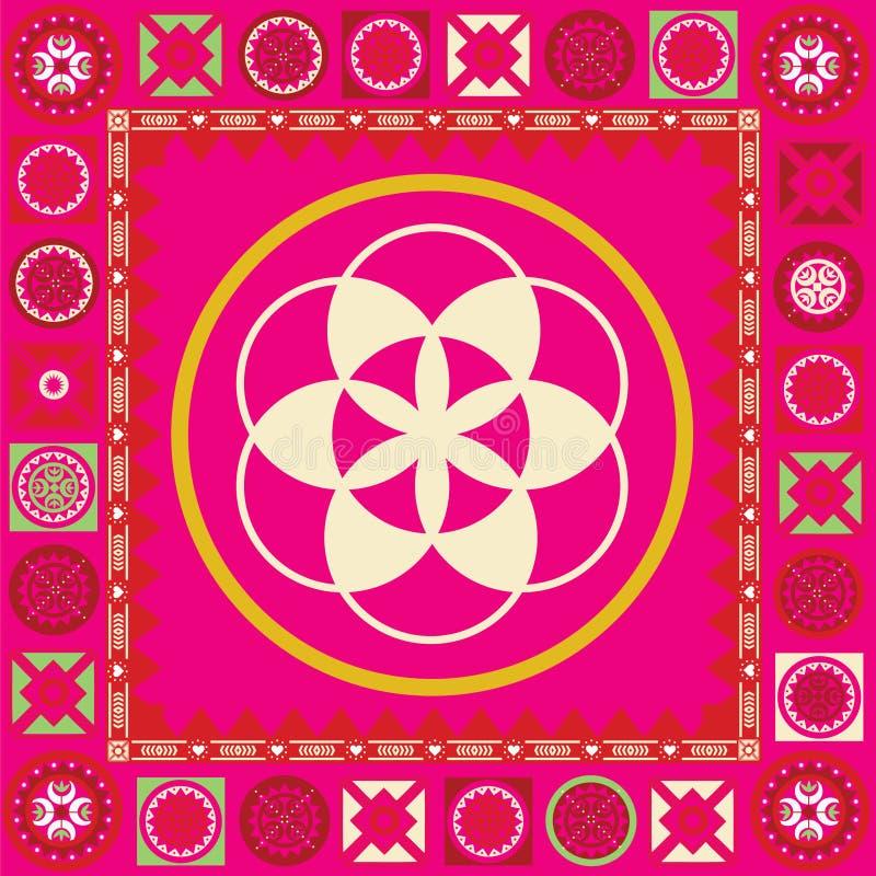 Flor del cartel del ornamental del germen de la vida stock de ilustración