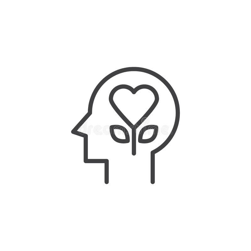Flor del corazón en icono del esquema de la cabeza humana libre illustration