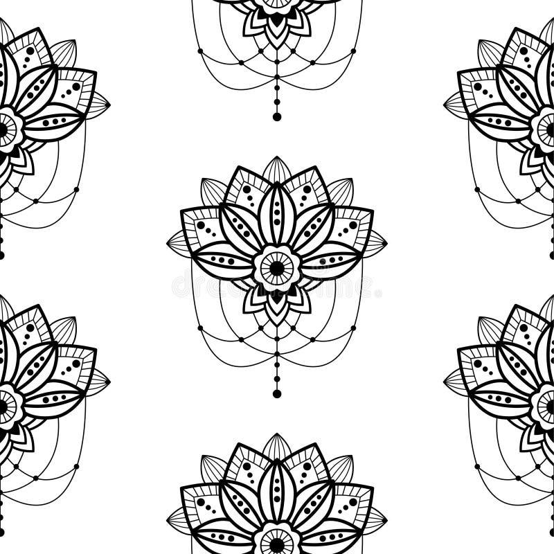 Flor del diseño de la mandala de Mehendi con el colgante del ejemplo oriental del estilo de los detalles del modelo inconsútil pe libre illustration