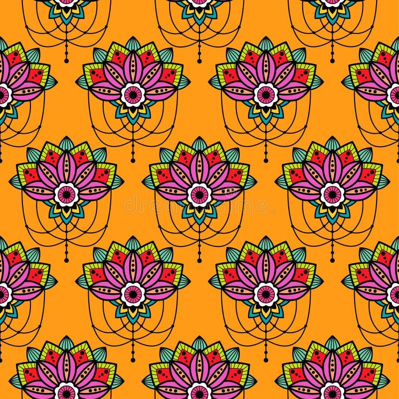 Flor del diseño de la mandala de Mehendi con el ejemplo pendiente del recorte del vector de los detalles de la ejecución stock de ilustración