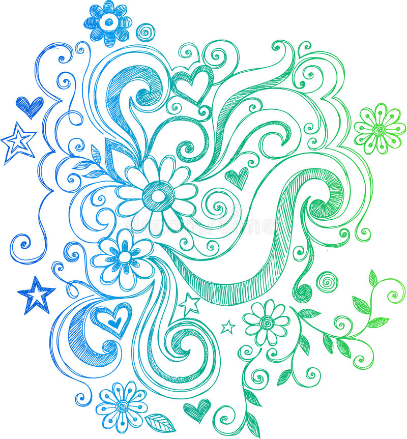 Flor del Doodle e ilustración incompletas de los remolinos stock de ilustración
