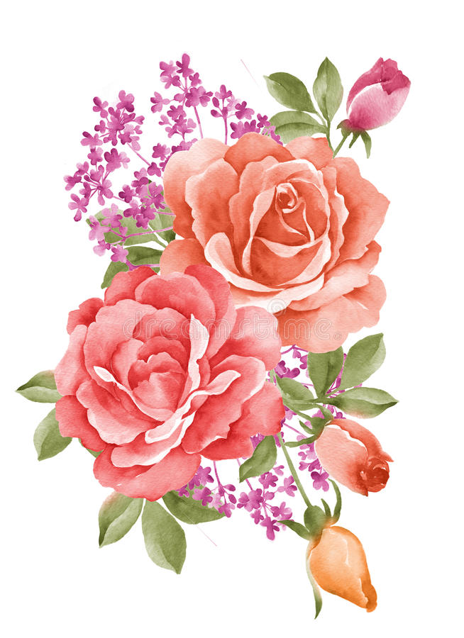 Flor del ejemplo de la acuarela stock de ilustración