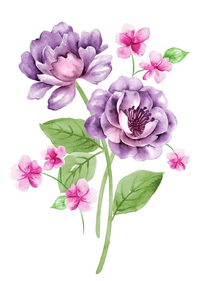 Flor del ejemplo de la acuarela en fondo simple stock de ilustración