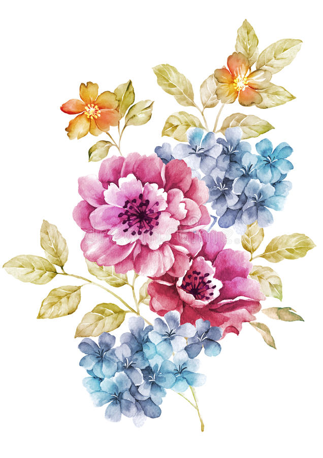 Flor del ejemplo de la acuarela en fondo simple ilustración del vector