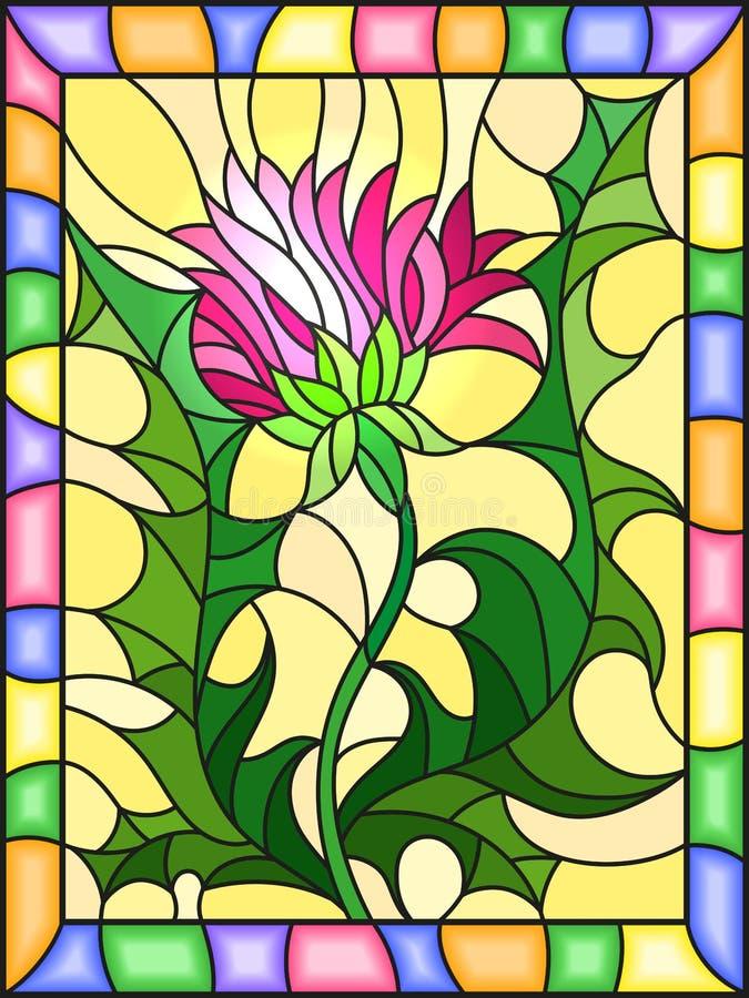 Flor del ejemplo del vitral de un cardo rosado en un fondo amarillo en un marco brillante libre illustration