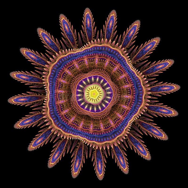 Flor del fractal - 3d rinden stock de ilustración
