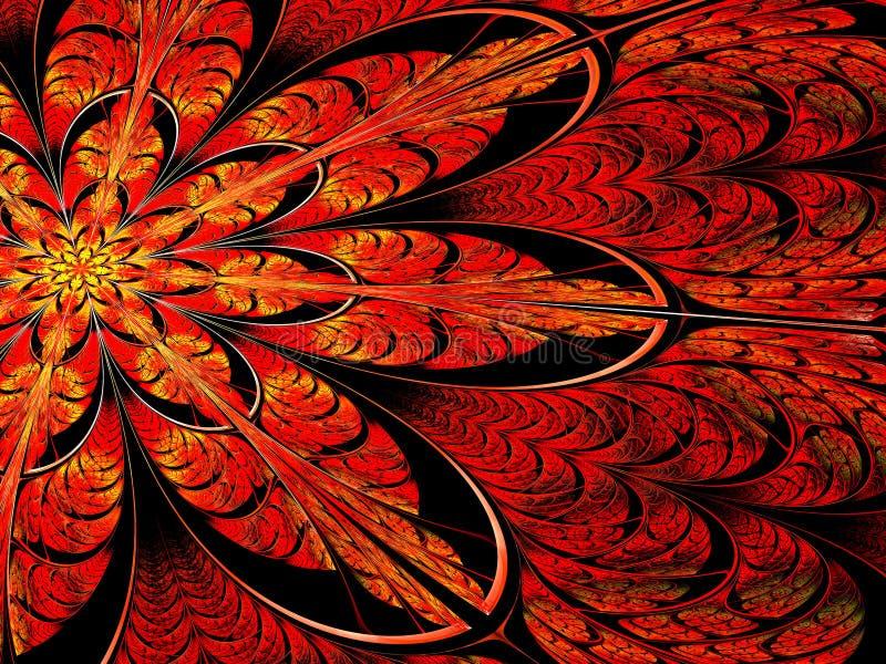 Flor del fractal - imagen digital generada del extracto stock de ilustración