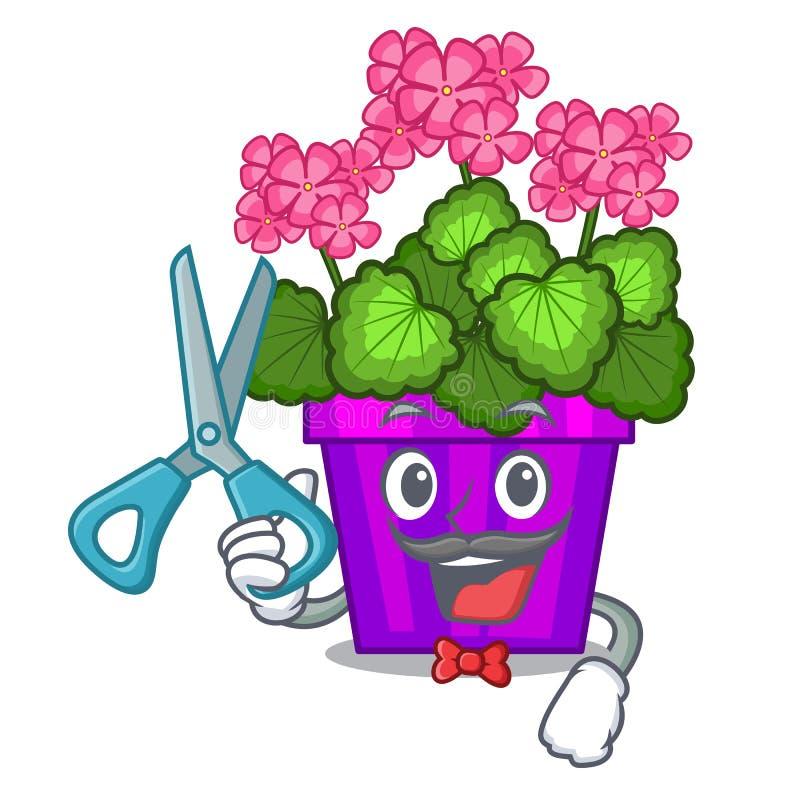 Flor del geranio del peluquero aislada con la mascota libre illustration
