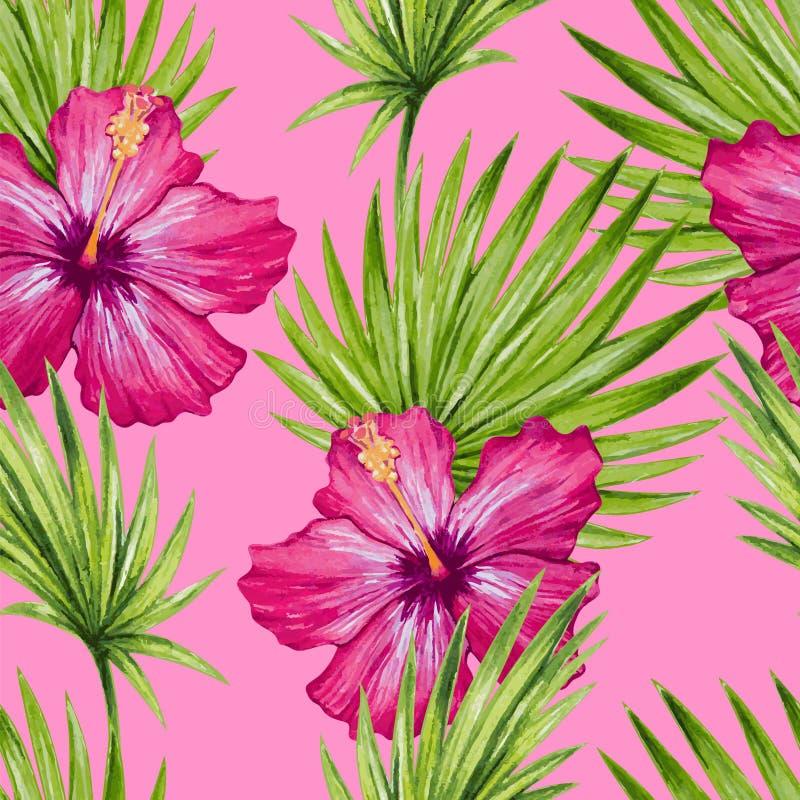 Flor del hibisco de la acuarela y modelo inconsútil de las hojas de palma stock de ilustración