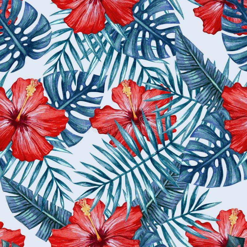 Flor del hibisco de la acuarela y modelo inconsútil de las hojas de palma ilustración del vector