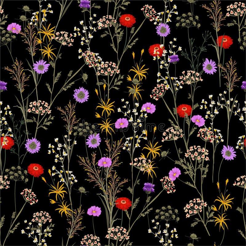 Flor del jardín botánico en el modelo inconsútil de la noche de verano en el vector, diseño para la tela de la moda, web, wallapp libre illustration