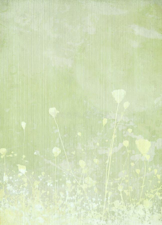 Flor del prado pálida - fondo verde libre illustration