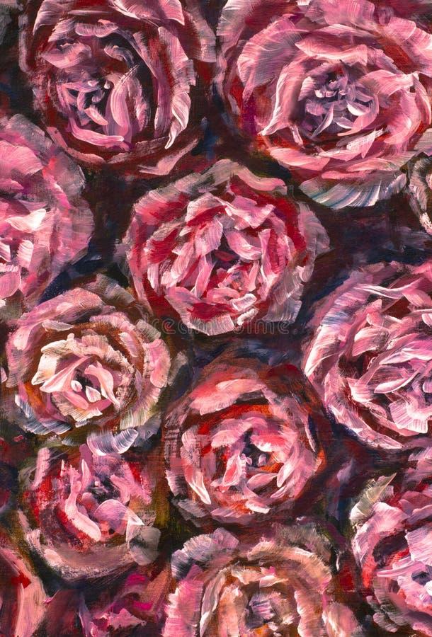 Flor del primer de la pintura al óleo Macro color de rosa del primer de la peonía de las flores violetas rojas grandes en lona Im ilustración del vector