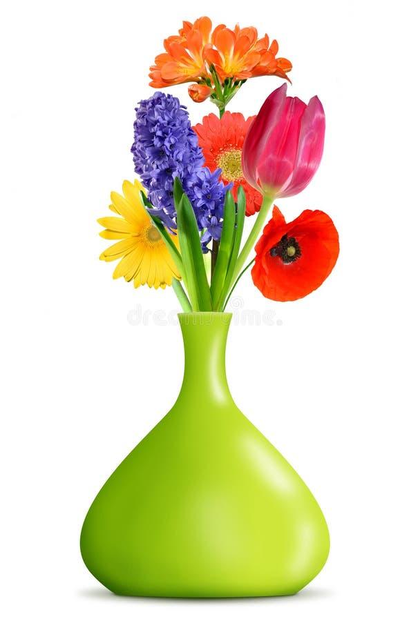 Flor del resorte en el florero verde imagen de archivo