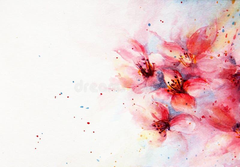 Flor del rosa del fondo de la acuarela ilustración del vector