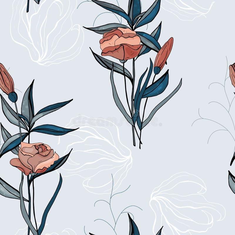 Flor del vector tropical y modelo incons?tiles de las hojas stock de ilustración