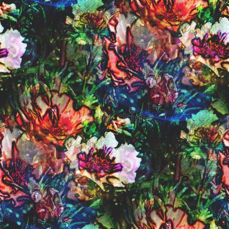 Flor del verde azul del arte de la acuarela del fondo ilustración del vector