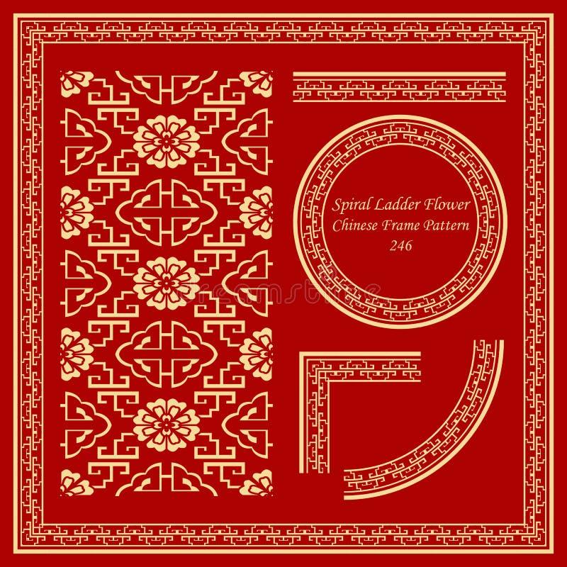 Flor determinada de la escalera del espiral de la geometría del modelo chino del marco del vintage stock de ilustración
