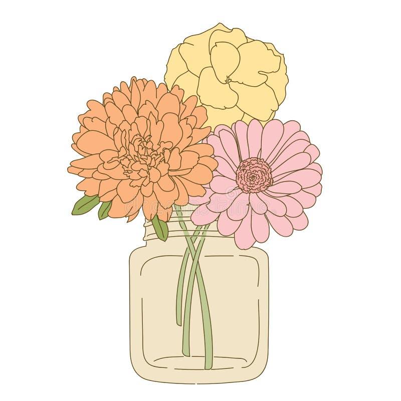 Flor dibujada mano en tarro de albañil ilustración del vector