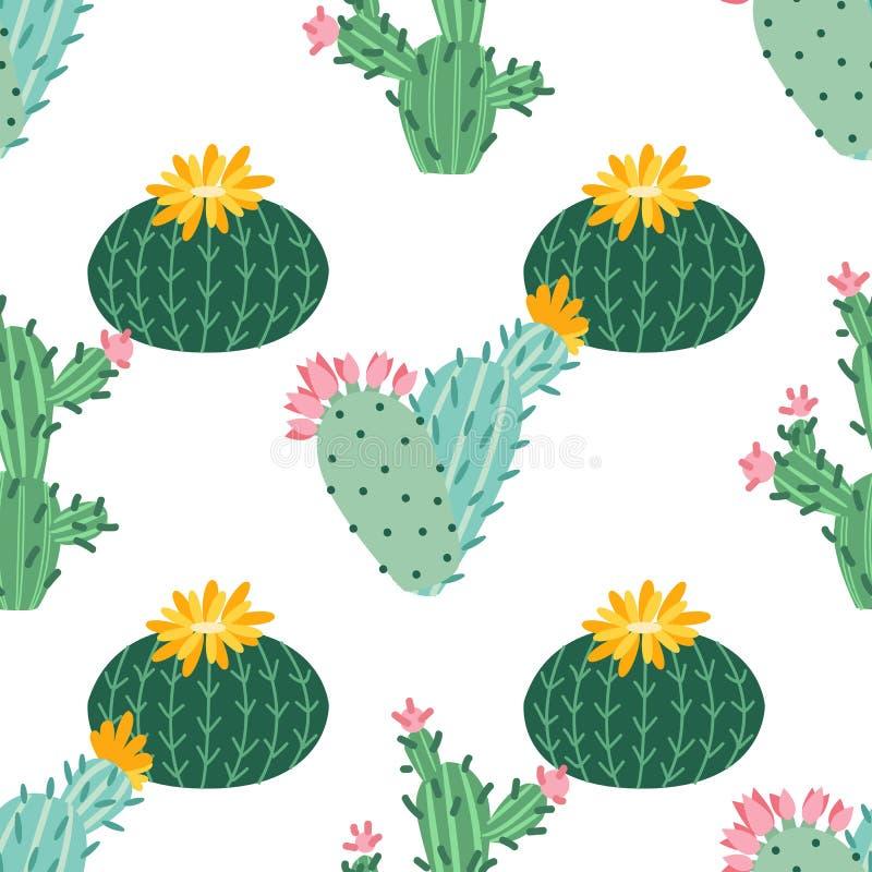 Flor do cacto Cactos brilhantes, folhas do alo?s, desenhos animados tropicais da flora do deserto suculento ex?tico do ver?o das  ilustração stock
