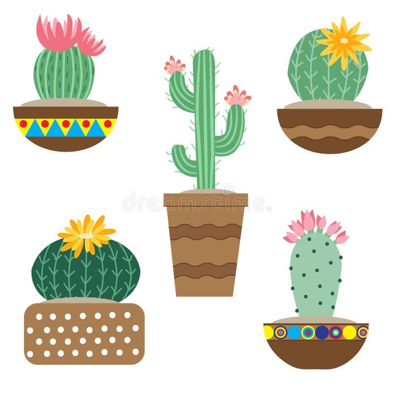 Flor do cacto em uns potenci?metros para flores e plantas Cactos brilhantes, folhas do alo?s, flora tropical do deserto suculento ilustração do vetor