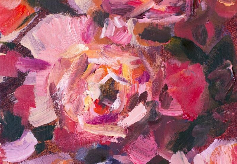 Flor do close-up da pintura a óleo Macro cor-de-rosa do close up da peônia das flores violetas vermelhas grandes na lona ilustração royalty free