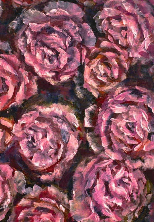 Flor do close-up da pintura a óleo Macro cor-de-rosa do close up da peônia das flores violetas vermelhas grandes na lona Impressi ilustração royalty free