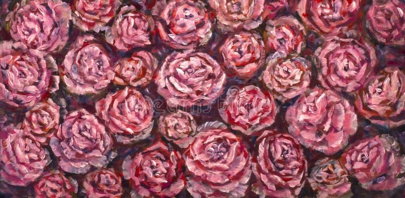 Flor do close-up da pintura a óleo Macro cor-de-rosa do close up da peônia das flores violetas vermelhas grandes na lona Impressi imagem de stock